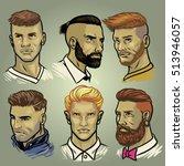 set of men's hair styles... | Shutterstock .eps vector #513946057