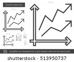 growth trend vector line icon...