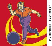 retro man playing bowling... | Shutterstock .eps vector #513985567
