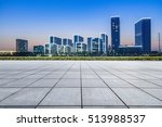 empty floor with modern skyline ... | Shutterstock . vector #513988537