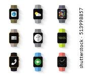 set of simple smart watch flat... | Shutterstock .eps vector #513998857