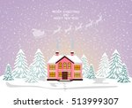 merry christmas card. vector... | Shutterstock .eps vector #513999307