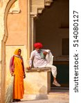 Small photo of AMBER, INDIA - NOVEMBER 13: Unidentified people rest in the fourth courtyard of Amber Fort on November 13, 2014 in Amber, India. Amber Fort is the main tourist attraction in the Jaipur area.