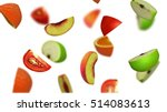 lobules of fruits falling on... | Shutterstock . vector #514083613