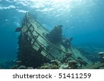 Shipwreck of the Kormoran with the bow and upper deck clearly visible. Sharm el Sheikh, Red Sea, Egypt. - stock photo