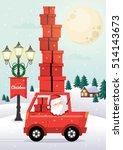 santa claus driving   christmas ... | Shutterstock .eps vector #514143673