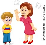 cartoon mather scolding his son   Shutterstock .eps vector #514146367
