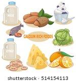 foods rich in calcium vector... | Shutterstock .eps vector #514154113
