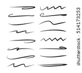 vector set hand drawn brush... | Shutterstock .eps vector #514173253