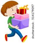 little boy carrying three...   Shutterstock .eps vector #514179097
