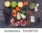 cheese  fruit and vegetables on ... | Shutterstock . vector #514189723