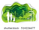 Paper art of family and park on green town shape, origami concept and ecology idea, vector art and illustration. | Shutterstock vector #514226677