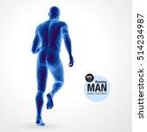 3d running man  dark blue... | Shutterstock .eps vector #514234987
