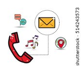 telephone with communication... | Shutterstock .eps vector #514243573