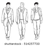 sketch. handsome stylish man... | Shutterstock .eps vector #514257733