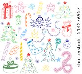 hand drawn doodle winter... | Shutterstock .eps vector #514276957