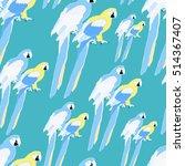 seamless pattern of gold parrot ... | Shutterstock .eps vector #514367407