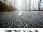 rainy autumn road with forest... | Shutterstock . vector #514368703