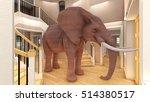 elephant in the living room 3d... | Shutterstock . vector #514380517