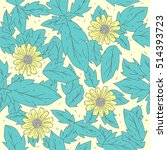 yellow flower doodle seamless... | Shutterstock .eps vector #514393723