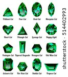 set of realistic green emeralds ...