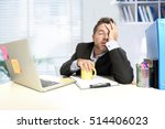 Small photo of tired and frustrated businessman desperate face expression suffering stress worried with headache at computer desk heavy work load overwhelmed and stressed in exhausted office worker concept