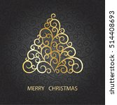 christmas card with stylization ... | Shutterstock .eps vector #514408693