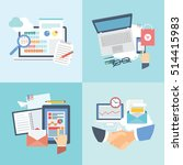 set of flat office and... | Shutterstock .eps vector #514415983
