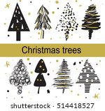 christmas trees drawing of the... | Shutterstock .eps vector #514418527
