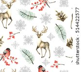 seamless christmas pattern with ... | Shutterstock . vector #514422577