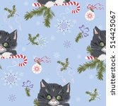 vector christmas pattern with... | Shutterstock .eps vector #514425067