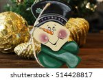 Wooden Snowman. Christmas Toy...