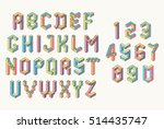 memphis style abc. isometric... | Shutterstock .eps vector #514435747
