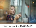 happy female using smart phone... | Shutterstock . vector #514437613