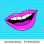 pop art lips isolated. warhol... | Shutterstock .eps vector #514442653