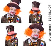 Small photo of Collage of four portraits, isolated: The insane funny Hatter. A man with curly red hair dressed in a velour brown frock coat, cylinder hat and the bow tie grimacing and is playing the fool