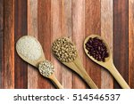 seed on wooden spoon on plywood ... | Shutterstock . vector #514546537