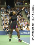 Small photo of NEW YORK - AUGUST 30, 2016: Grand Slam champion Serena Williams in action during her semifinal match at US Open 2016 at Billie Jean King National Tennis Center in New York