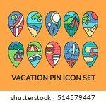 bright set of vacation pin... | Shutterstock .eps vector #514579447