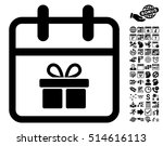 gift day pictograph with bonus...   Shutterstock .eps vector #514616113