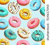 glazed donuts seamless | Shutterstock .eps vector #514617043