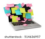 Small photo of Image of laptop full of colorful sticky notes reminders on screen isolated on white. Work overload concept image