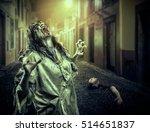 the horror shouting zombie girl ... | Shutterstock . vector #514651837