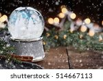 rustic image of a snow globe... | Shutterstock . vector #514667113