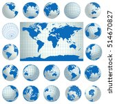 world map and set of blue globe ...   Shutterstock .eps vector #514670827