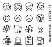acne icon set in thin line style | Shutterstock .eps vector #514706443