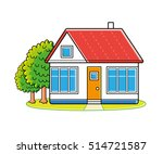 white house and green trees...   Shutterstock .eps vector #514721587