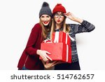 cheerful excited friends  in... | Shutterstock . vector #514762657