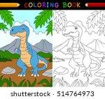 cartoon tyrannosaurus coloring... | Shutterstock . vector #514764973