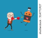 grandpa punching liquor bottles ... | Shutterstock .eps vector #514771927
